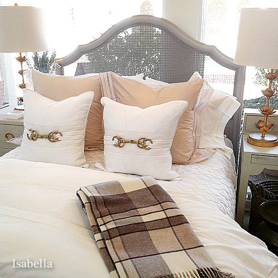 Bed Throw Pillow Placement : Charlotte fine bed linens, interior design Isabella NC Design
